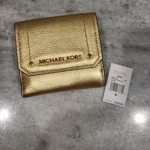 Michael Kors gold trifold wallet